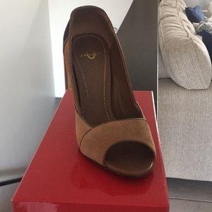 Suede high heel open toe pump